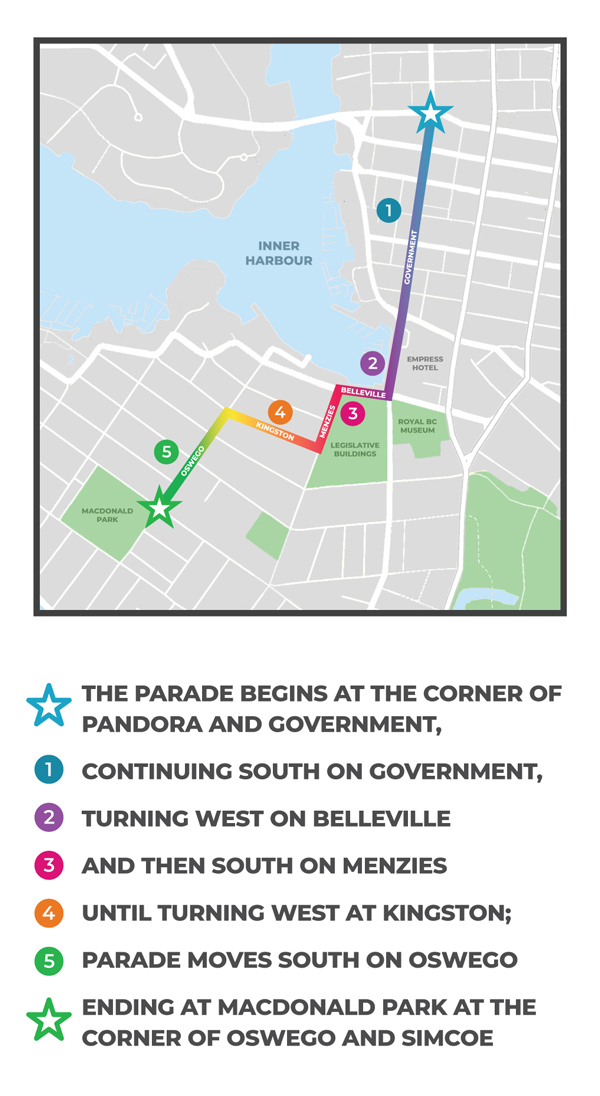 Victoria Pride Society - Parade Map & Legend 2018